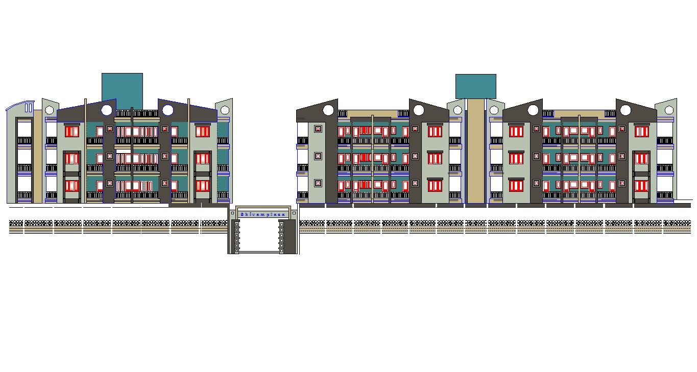 Autocad drawing of residential apartment elevation