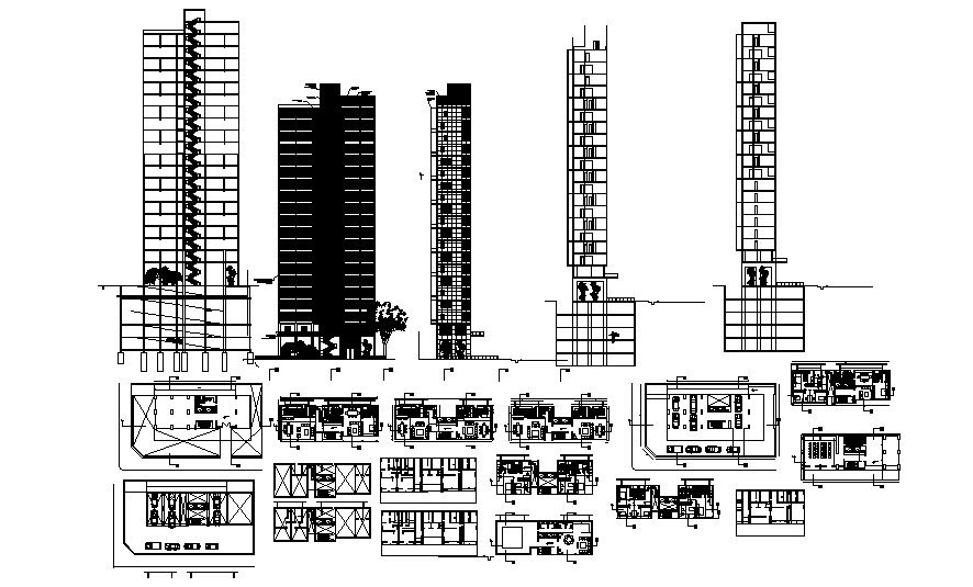 Autocad drawing of residential apartment with elevations