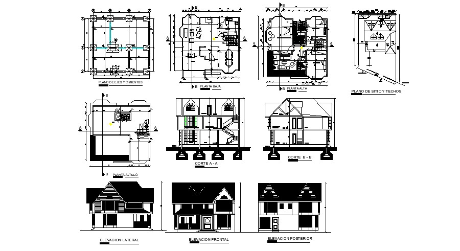 Autocad drawing of residential house 11.40mtr x  11.75mtr  with different elevation and section