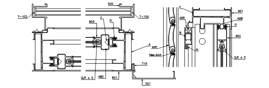 Autocad drawing of rolling curtain detail