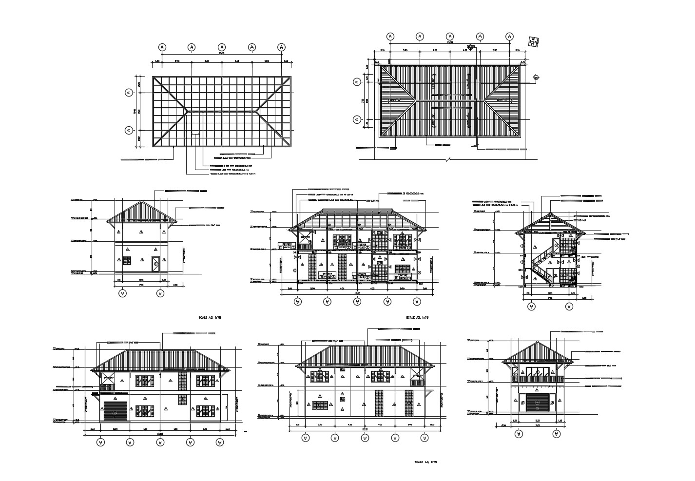 Autocad drawing of roof plan with sections and elevation