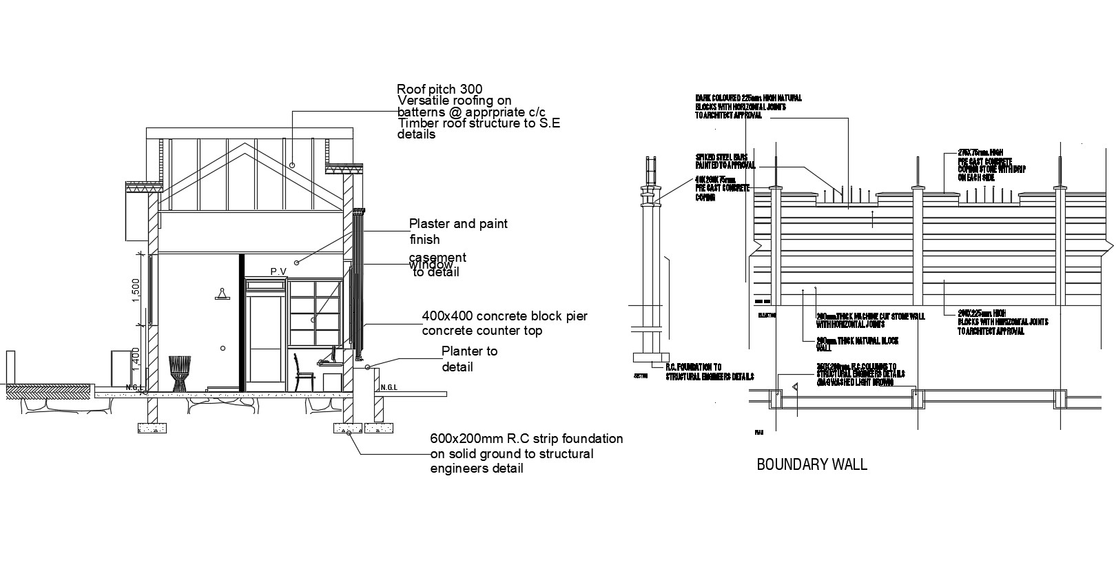 Autocad drawing of section of residential bunglow