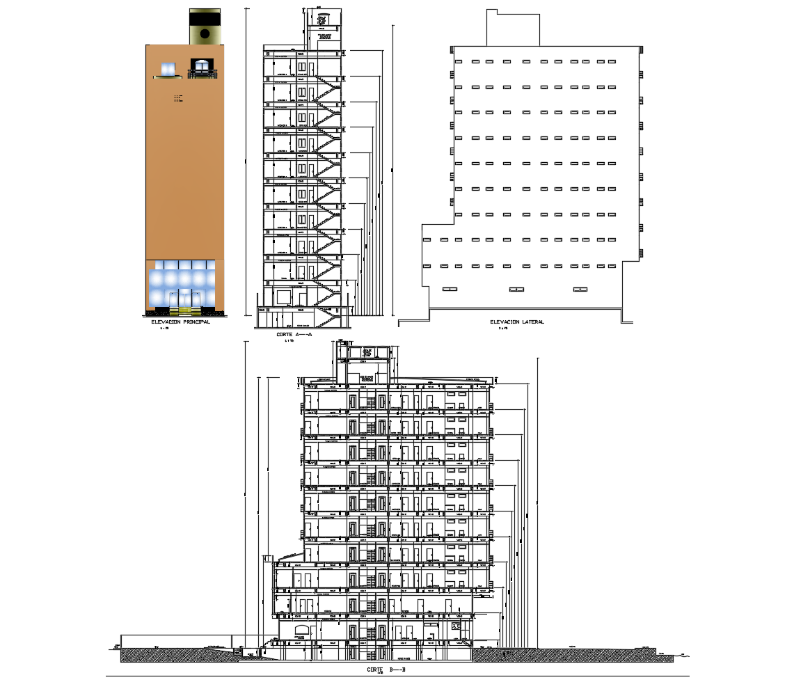 Autocad drawing of the hotel building with elevation and section