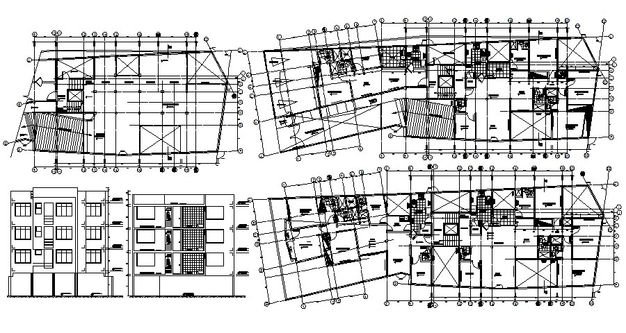 Autocad drawing of the residential apartment with detail dimension in dwg file