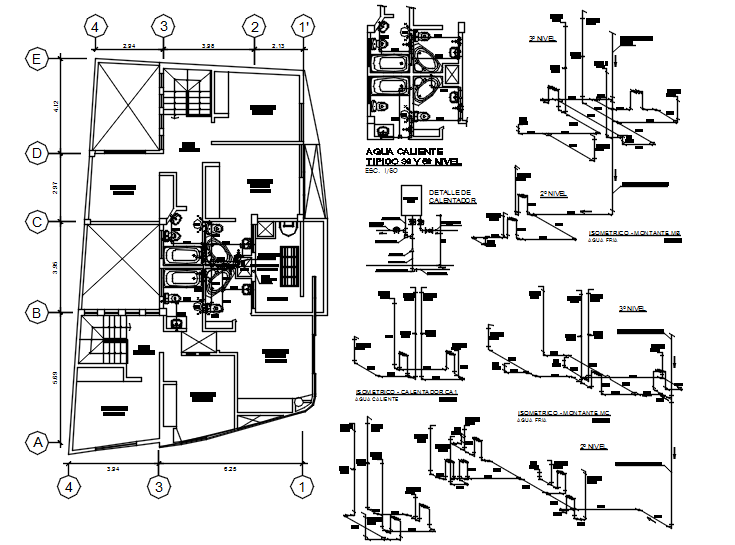 Autocad drawing of the sanitary layout of clinic