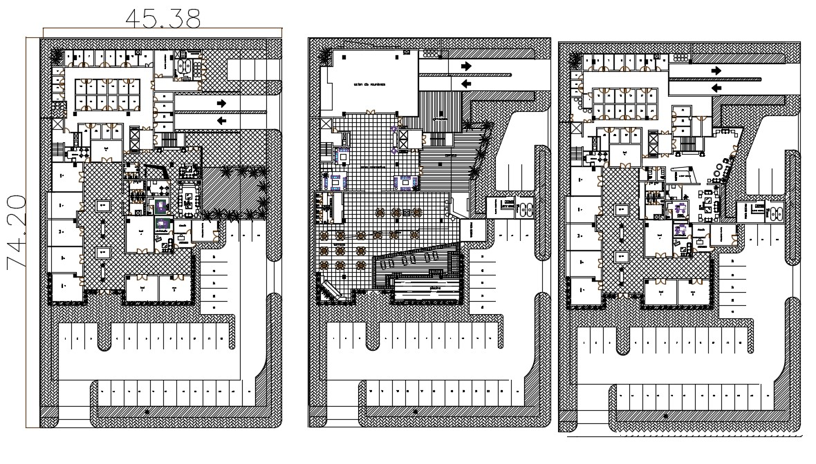 Architecture Hotel Building Layout Plan CAD File