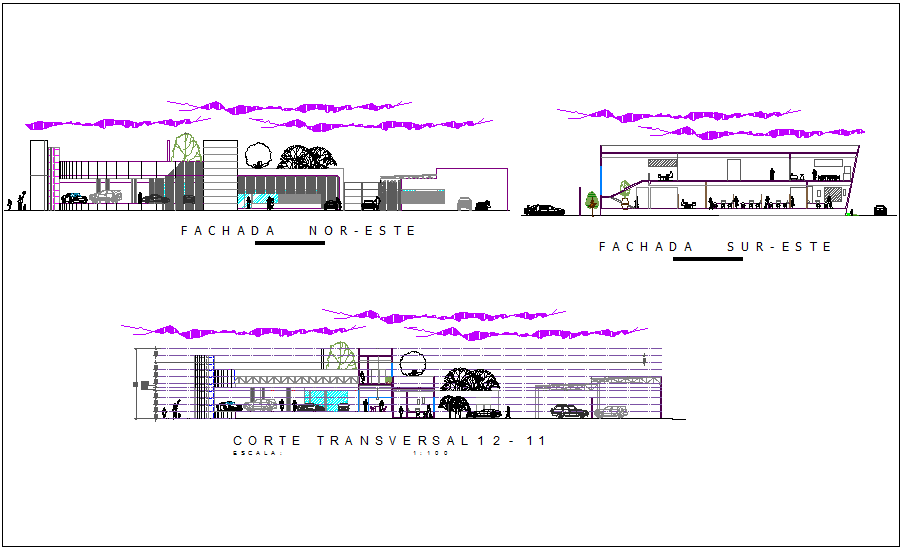 Automobile agency with showroom Elevation and different axis section view  dwg file