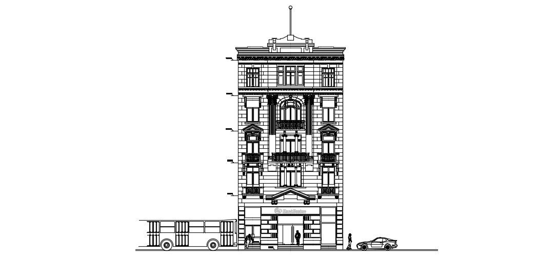 Bank Building In DWG File