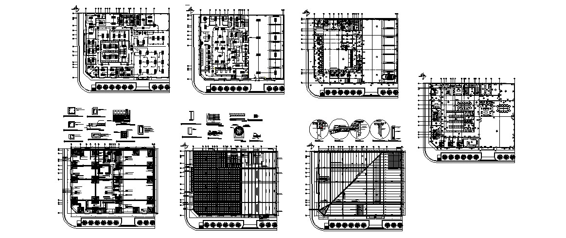 Bank office building foundation, construction and floor plan details dwg file