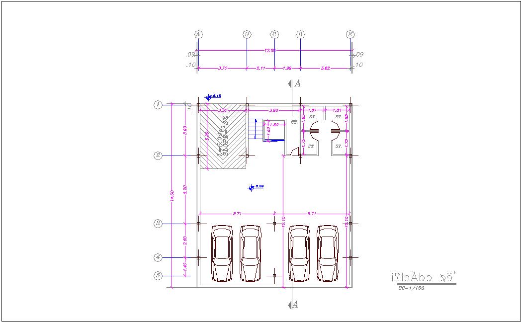 Basement floor plan of house dwg file
