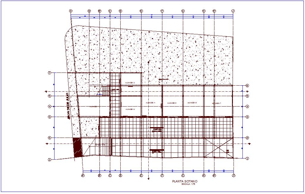 Basement floor plan of shopping center dwg file
