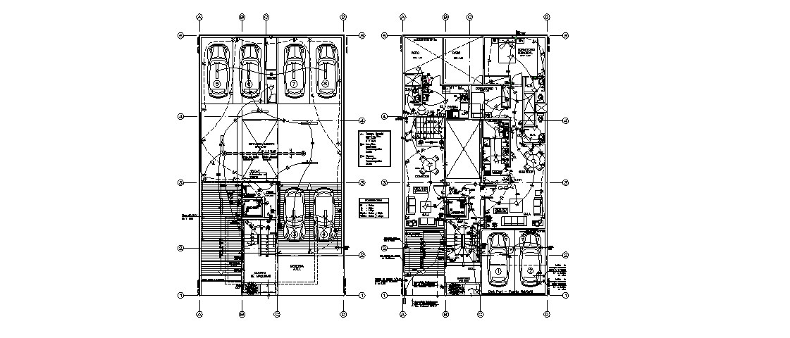 Basement parking and ground floor plan and electrical layout plan details dwg file