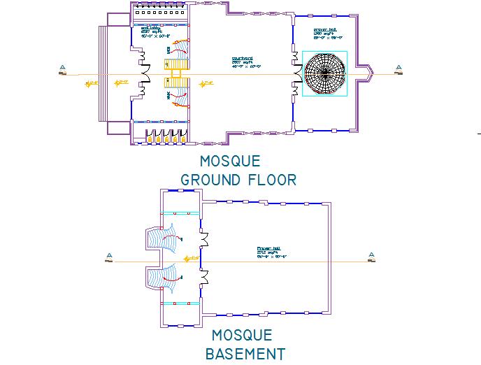 Basement plan and ground floor plan detail dwg file