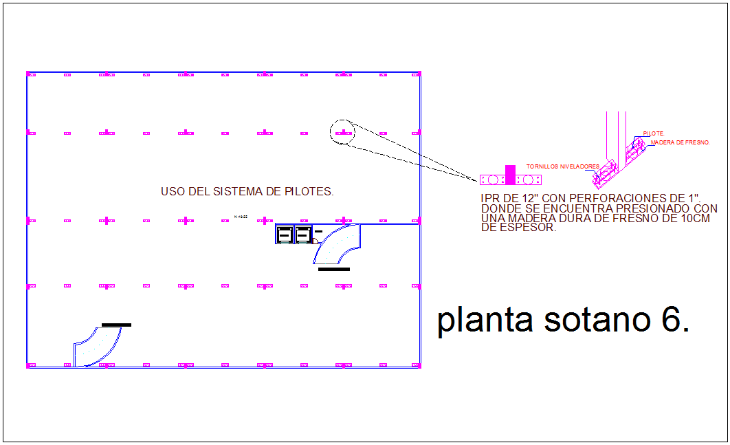 Basement plan with view of sixth floor for combine office and residence area dwg file
