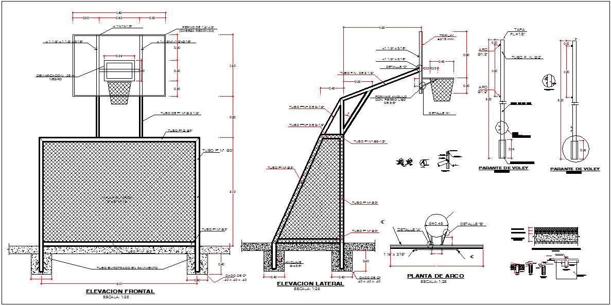 Basket ball court net elevation and side elevation detail dwg file
