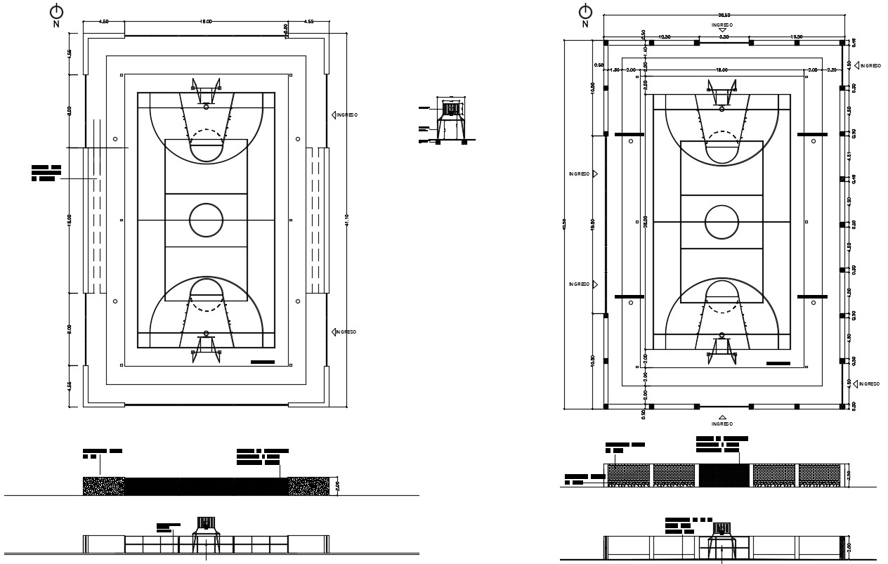 Basketball Playground DWG File
