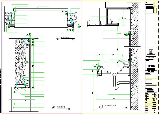 Bathroom Sanitary & Door Block & Section detail