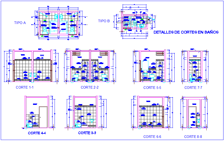 Bathroom design different section view dwg file