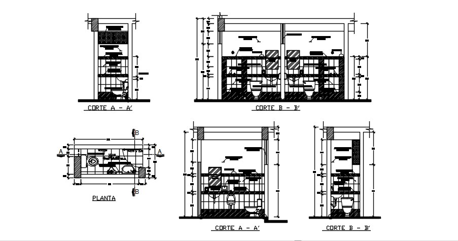Bathroom design with detail dimension in AutoCAD