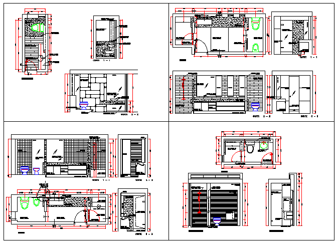 Bathroom details of multi-level housing project dwg file