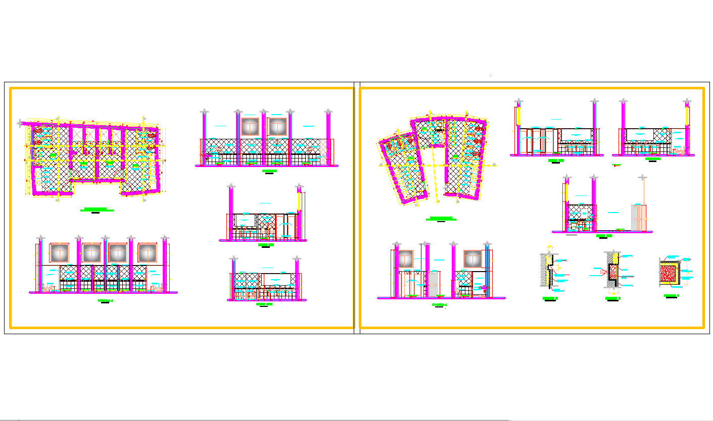 Bathroom elevations plan and detail cad drawing
