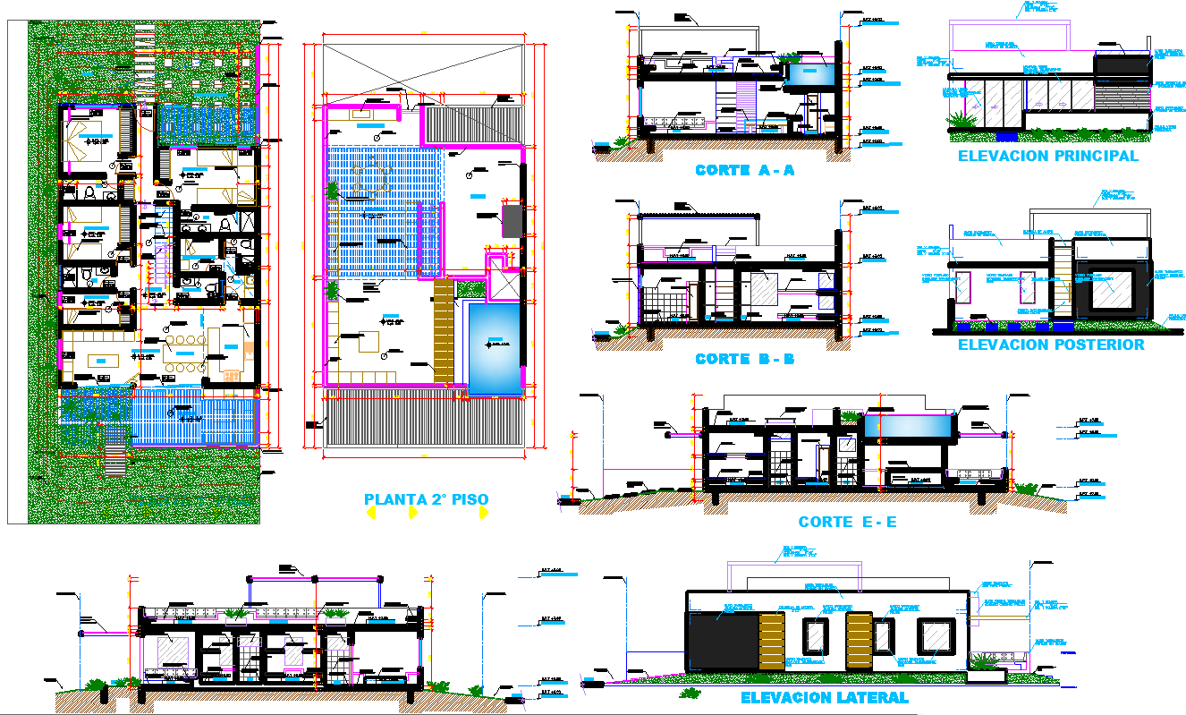 Beach House layout plan with detail dwg