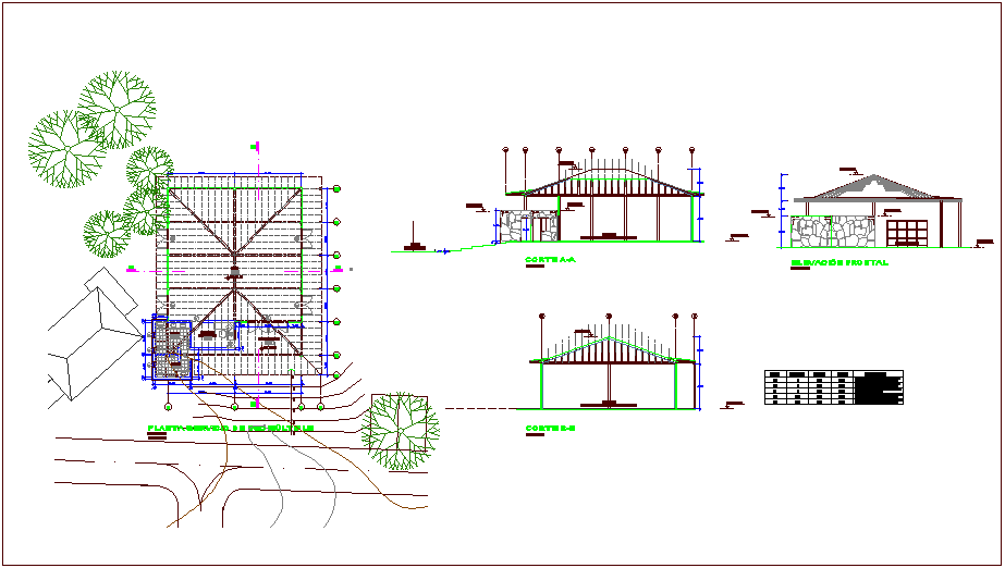Beach vacation condom multi purpose room plan,elevation and section view dwg file