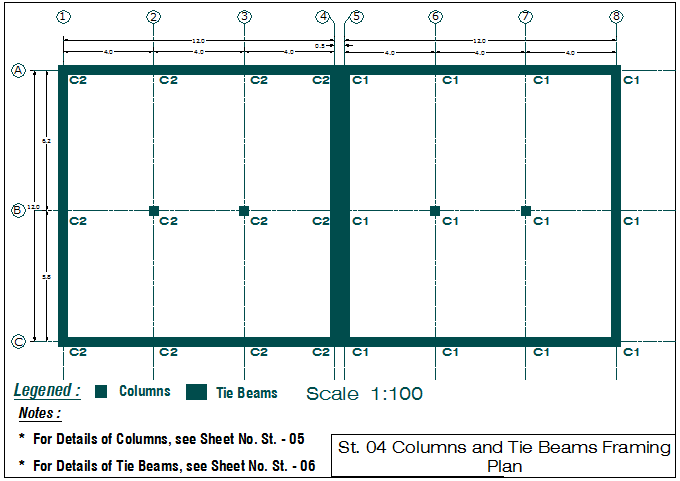 Beam and column plan layout view detail dwg file