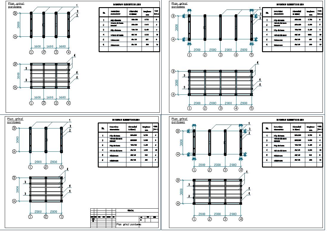 Beam column plan view detail dwg file