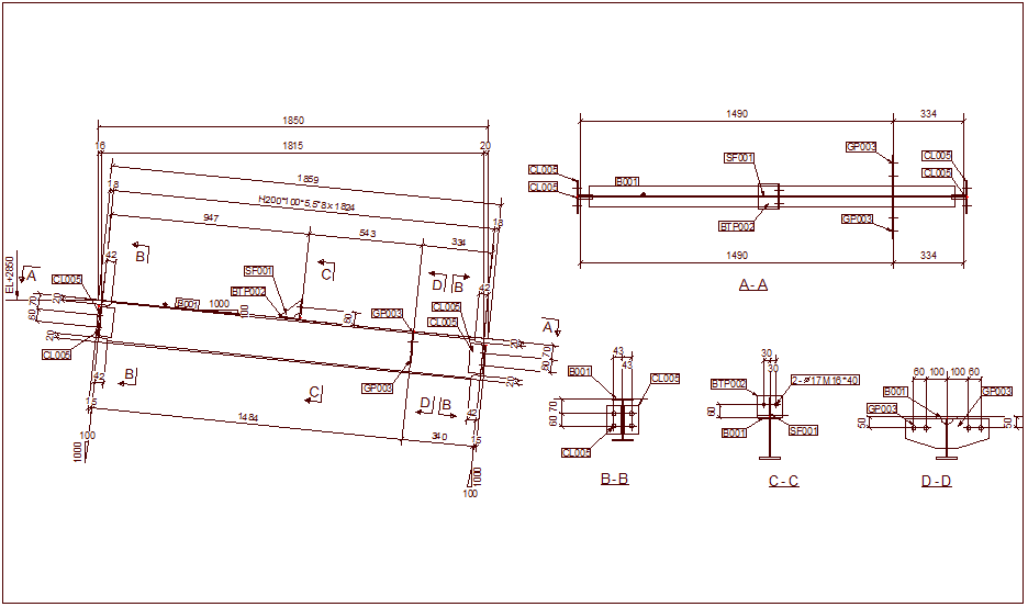 Beam design view for structural design dwg file