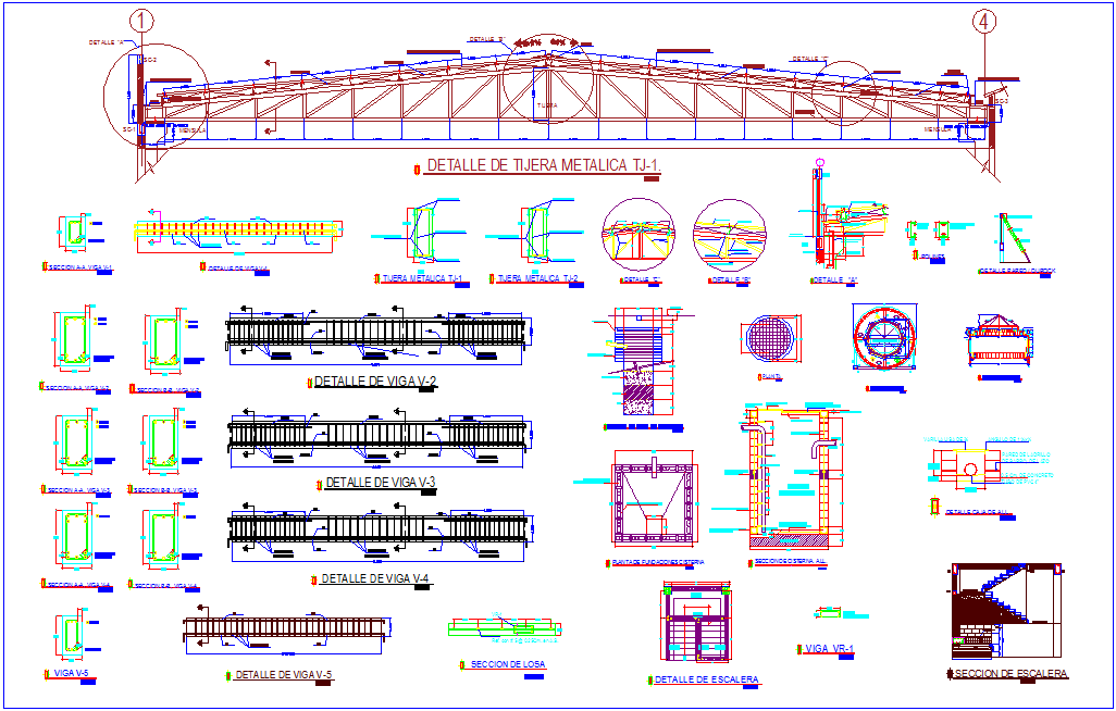 Beam view with truss and stair view with structural view for bank design dwg file