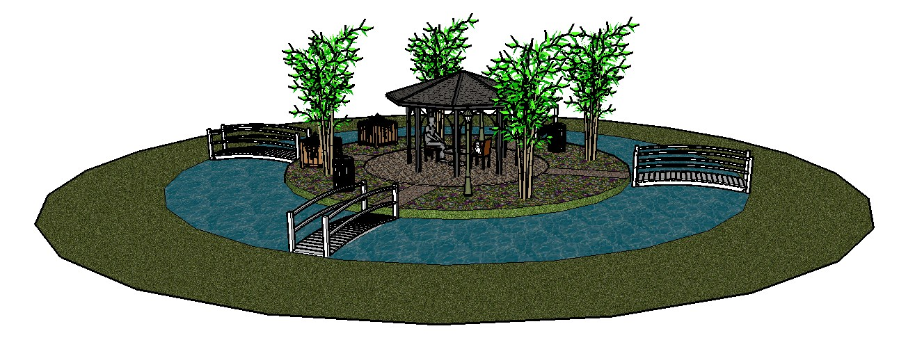 Beautiful garden 3d gazebo drawing with landscaping details skp file