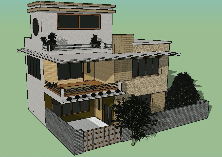Beautiful luxuries 3d bungalow model cad drawing details skp file