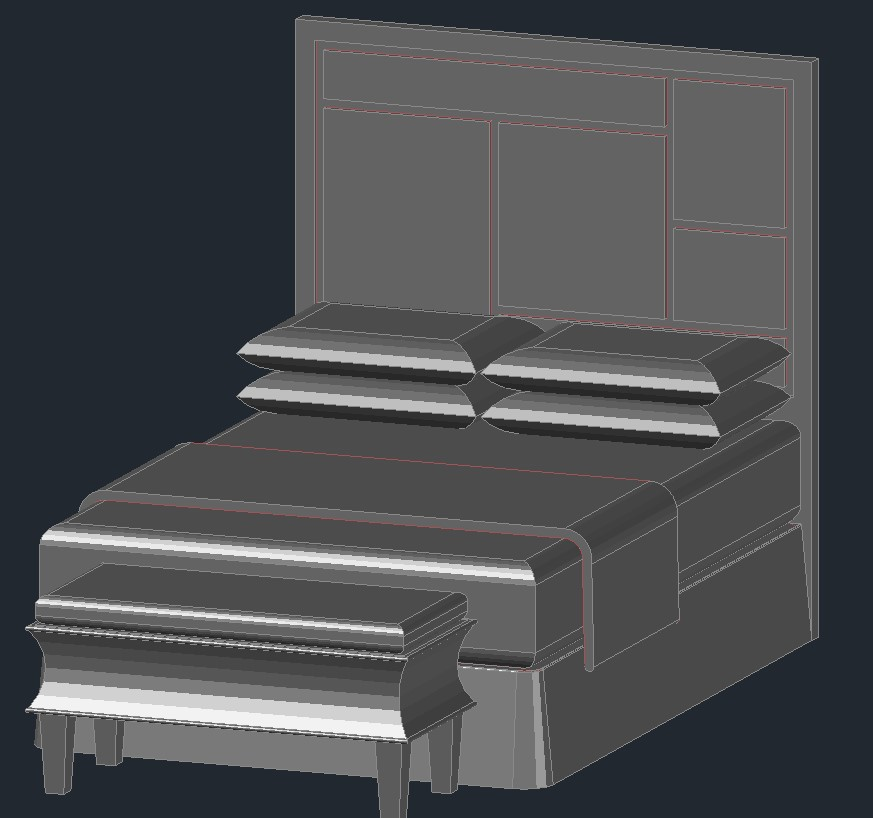 Download Free Bed design drawing in AutoCAD file