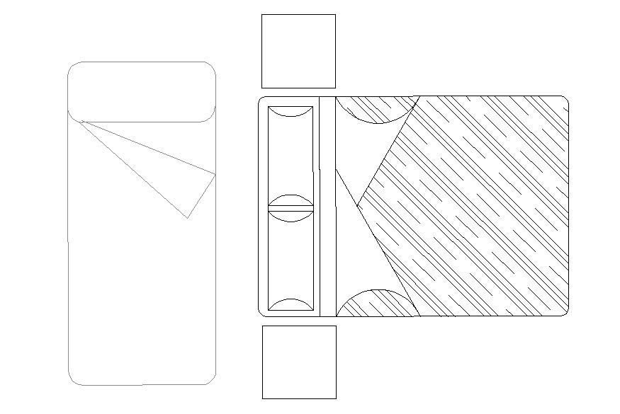 Bed furniture elevation detail autocad file
