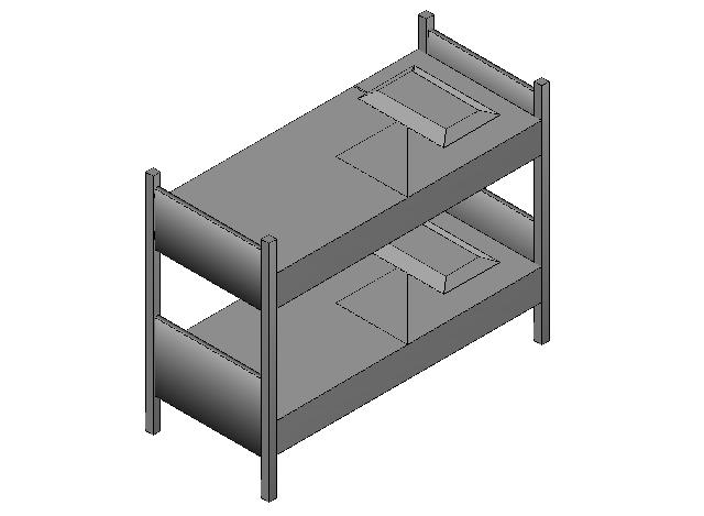 Bedroom Bunk Bed 3d elevation