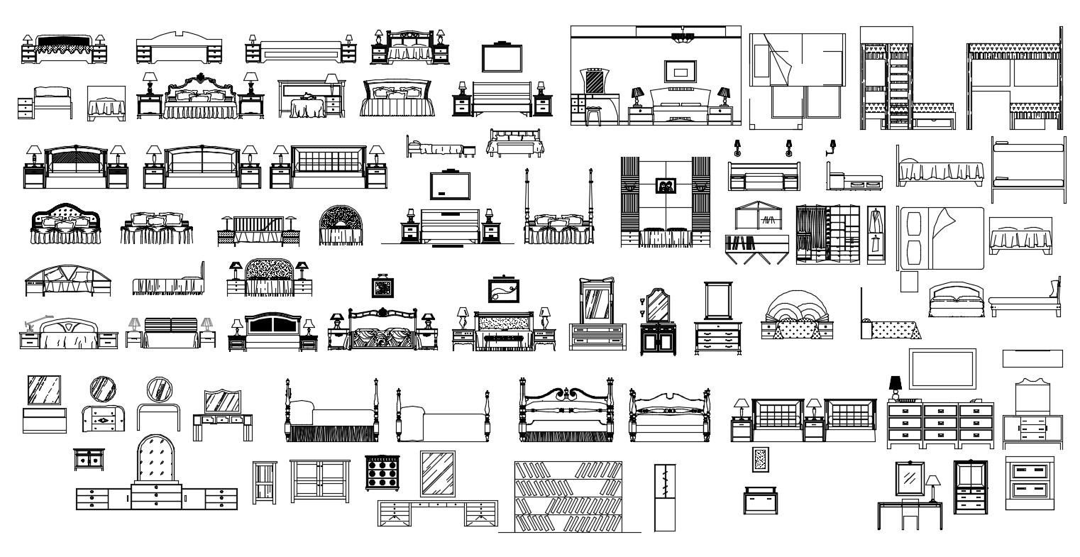 Bedroom Furniture AutoCAD Blocks Download DWG File