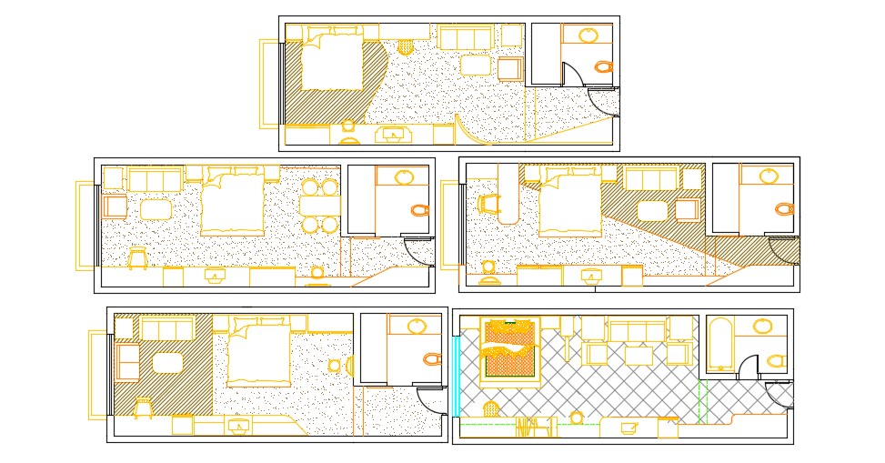 Bedroom Furniture Layout AutoCAD Drawing Download