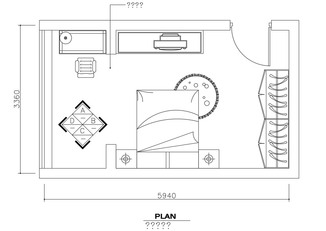 Bedroom plan with furniture layout cad drawing details dwg ...