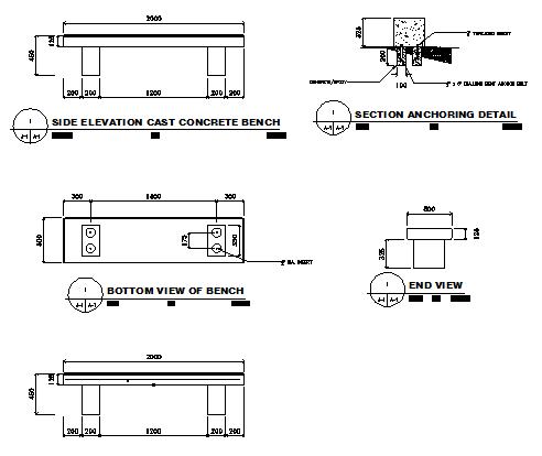Concrete Bench In AutoCAD File