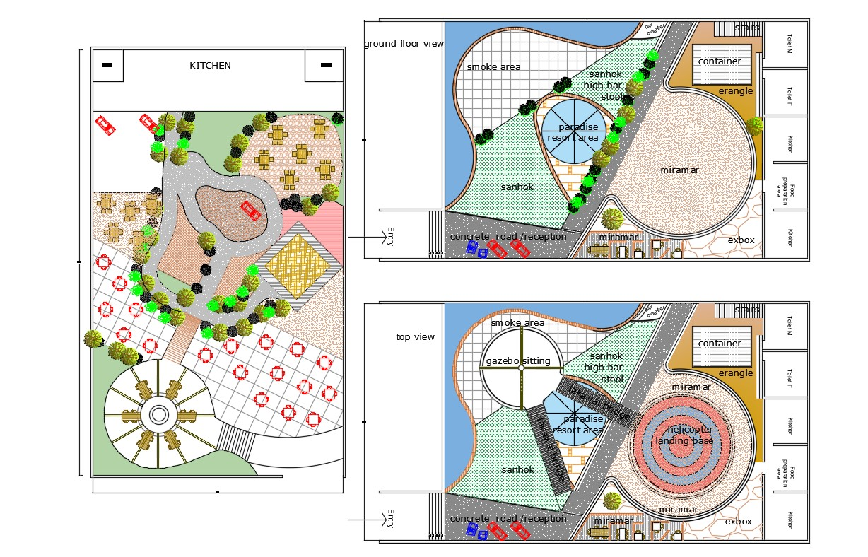 Best 2d Dwg Drawing Garden Landscape Design With Helipad ...