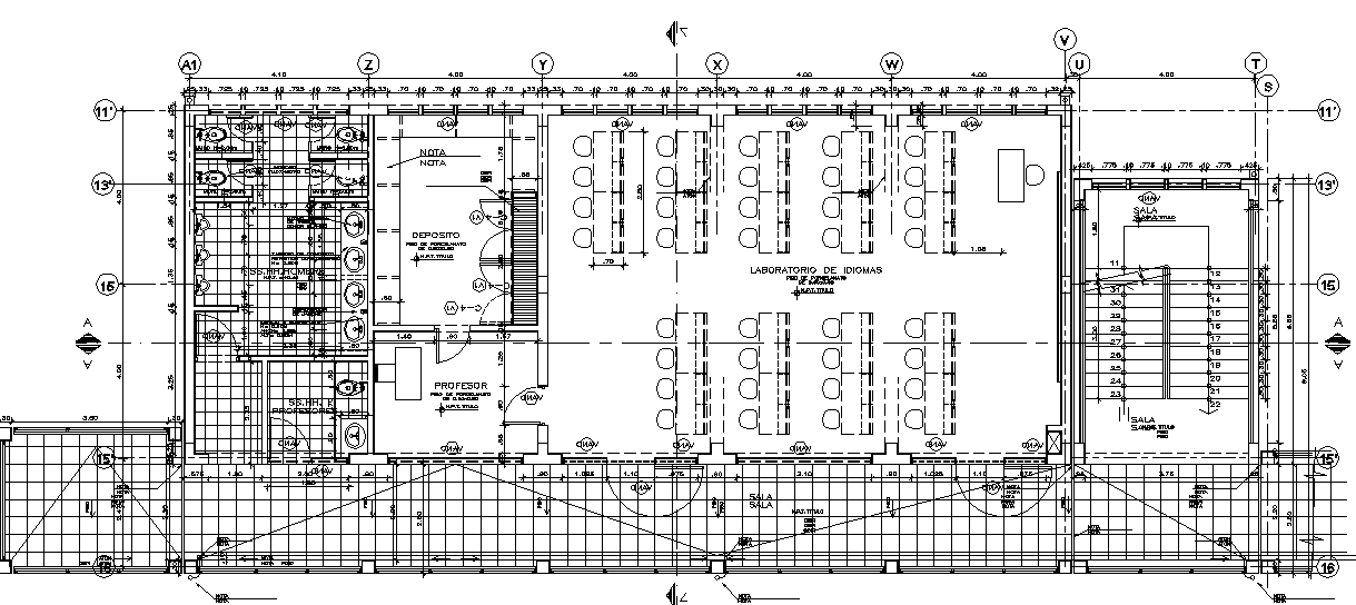 Big Layout plan of a school dwg file