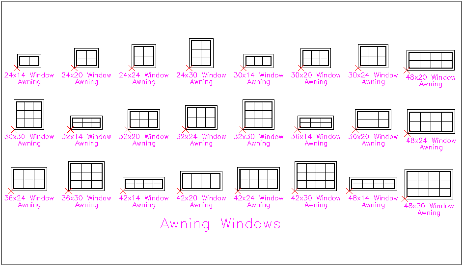 Block view of awning window different block view dwg file