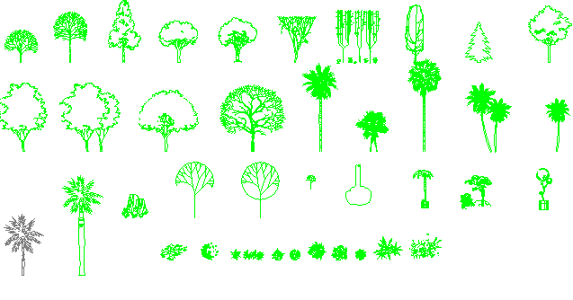 Blocks of tree architecture project dwg file