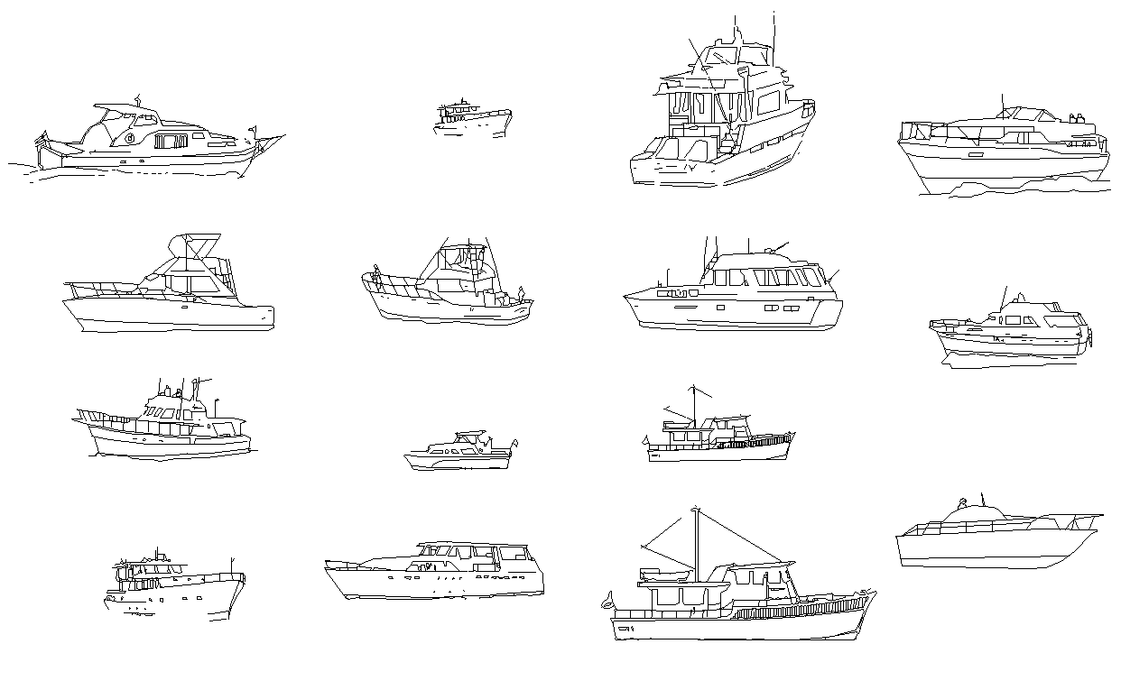 Boat detail CAD structure 2d view autocad file