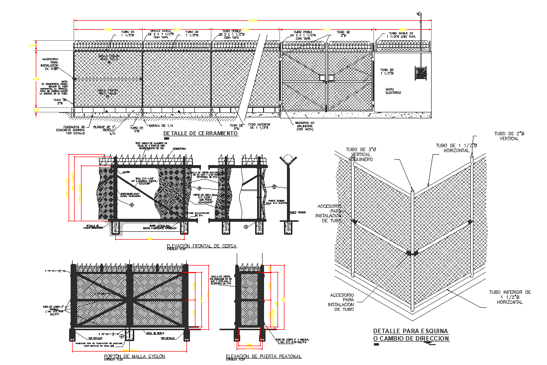 Boundary line wall elevation section view detail dwg file