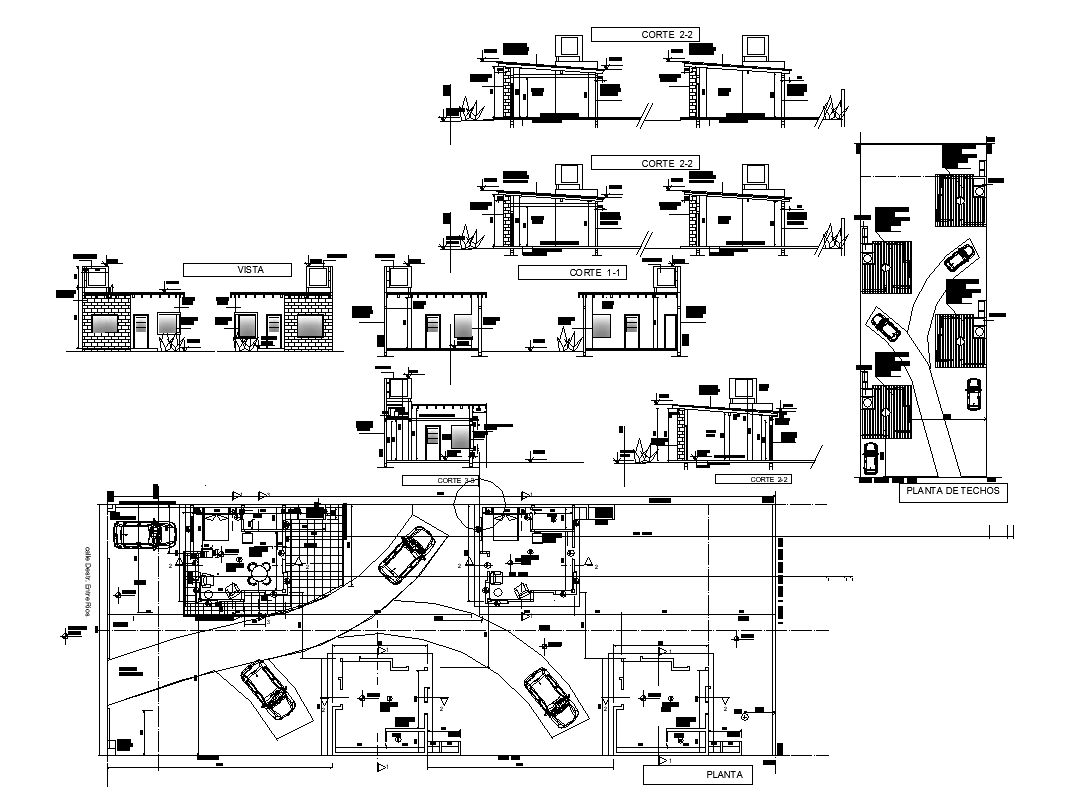 Building detail plan and section 2d view layout dwg file
