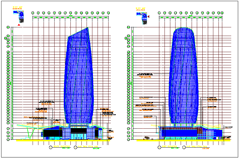 Building elevation view with south and east elevation view dwg file