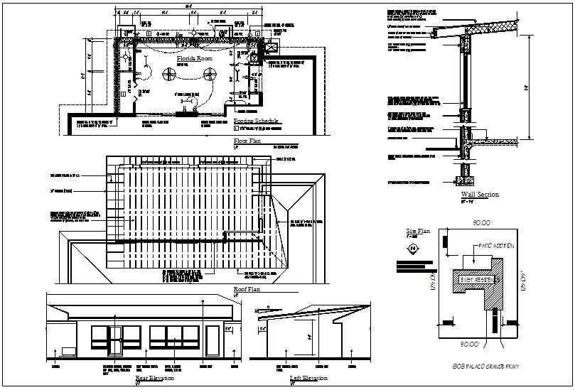 Building floor plan view details dwg files