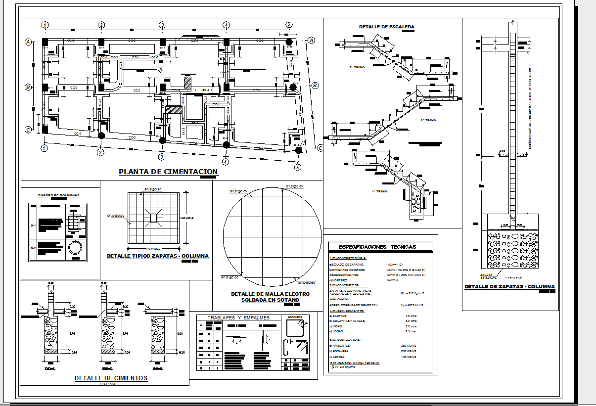 Building foundations detail cad drawing
